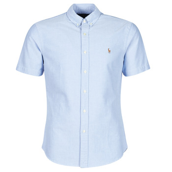 material Men short-sleeved shirts Polo Ralph Lauren CHEMISE CINTREE SLIM FIT EN OXFORD COL BOUTONNE LOGO PONY PLAYER Blue
