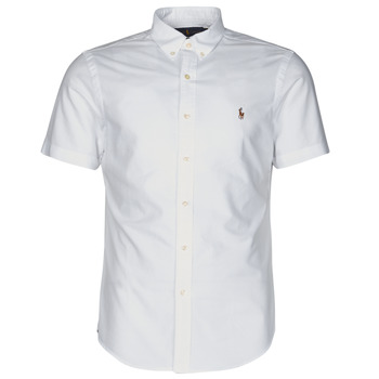 material Men short-sleeved shirts Polo Ralph Lauren CHEMISE CINTREE SLIM FIT EN OXFORD COL BOUTONNE LOGO PONY PLAYER White