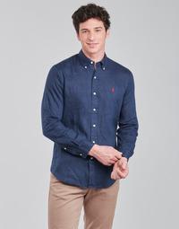 material Men long-sleeved shirts Polo Ralph Lauren CHEMISE AJUSTEE EN LIN COL BOUTONNE  LOGO PONY PLAYER Blue