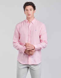 material Men long-sleeved shirts Polo Ralph Lauren CHEMISE AJUSTEE EN LIN COL BOUTONNE  LOGO PONY PLAYER Pink
