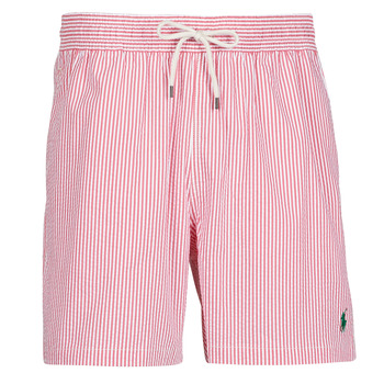 material Men Trunks / Swim shorts Polo Ralph Lauren MAILLOT SHORT DE BAIN RAYE SEERSUCKER CORDON DE SERRAGE ET POCHE Red / White