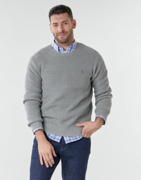 material Men jumpers Polo Ralph Lauren PULL COL ROND EN COTON TEXTURE LOGO PONY PLAYER Grey