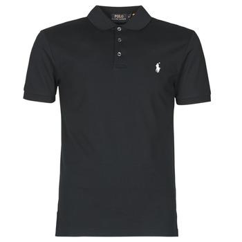 material Men short-sleeved polo shirts Polo Ralph Lauren POLO CINTRE SLIM FIT EN COTON STRETCH MESH LOGO PONY PLAYER Black
