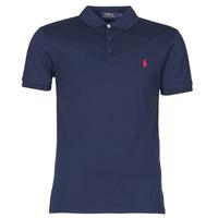 material Men short-sleeved polo shirts Polo Ralph Lauren POLO CINTRE SLIM FIT EN COTON STRETCH MESH LOGO PONY PLAYER Marine