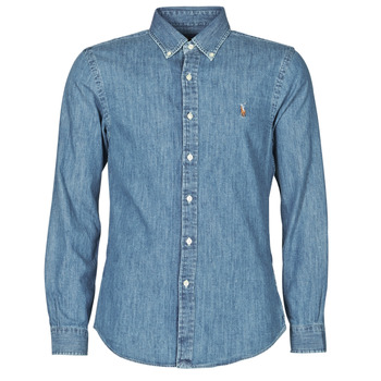 material Men long-sleeved shirts Polo Ralph Lauren CHEMISE CINTREE SLIM FIT EN JEAN DENIM BOUTONNE LOGO PONY PLAYER Blue