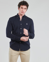 material Men long-sleeved shirts Polo Ralph Lauren CHEMISE AJUSTEE COL BOUTONNE EN POLO FEATHERWEIGHT LOGO PONY PLA Marine