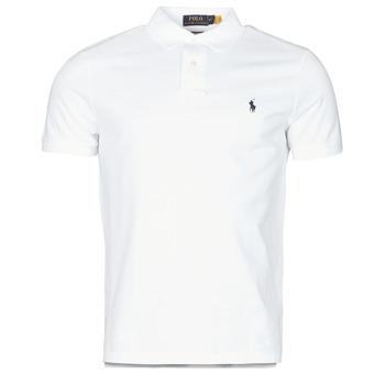 material Men short-sleeved polo shirts Polo Ralph Lauren POLO AJUSTE DROIT EN COTON BASIC MESH LOGO PONY PLAYER White