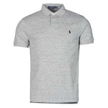 material Men short-sleeved polo shirts Polo Ralph Lauren POLO AJUSTE DROIT EN COTON BASIC MESH LOGO PONY PLAYER Grey / Heather