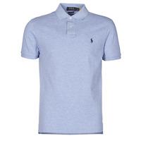 material Men short-sleeved polo shirts Polo Ralph Lauren POLO AJUSTE DROIT EN COTON BASIC MESH LOGO PONY PLAYER Blue / Jamaica / Heather