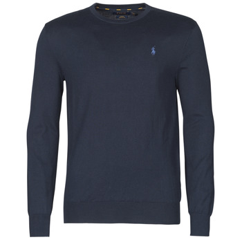 material Men jumpers Polo Ralph Lauren PULL COL ROND AJUSTE EN COTON PIMA LOGO PONY PLAYER Blue