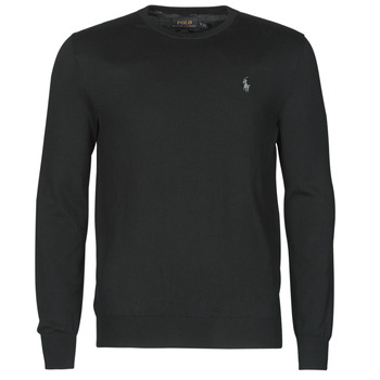 material Men jumpers Polo Ralph Lauren PULL COL ROND AJUSTE EN COTON PIMA LOGO PONY PLAYER Black