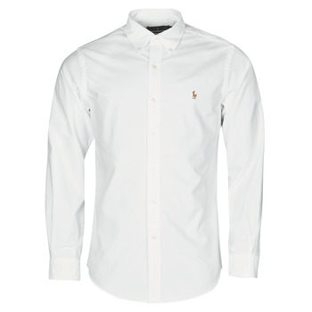 material Men long-sleeved shirts Polo Ralph Lauren CHEMISE AJUSTEE EN OXFORD COL BOUTONNE  LOGO PONY PLAYER MULTICO White
