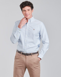 material Men long-sleeved shirts Polo Ralph Lauren CHEMISE AJUSTEE EN OXFORD COL BOUTONNE  LOGO PONY PLAYER MULTICO Blue / White