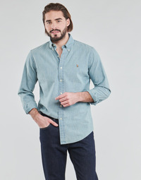 material Men long-sleeved shirts Polo Ralph Lauren CHEMISE AJUSTEE EN CHAMBRAY DENIM COL BOUTONNE  LOGO PONY PLAYER Blue