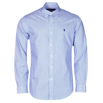material Men long-sleeved shirts Polo Ralph Lauren CHEMISE AJUSTEE EN POPLINE DE COTON COL BOUTONNE  LOGO PONY PLAY Blue / White