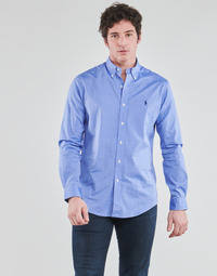 material Men long-sleeved shirts Polo Ralph Lauren CHEMISE AJUSTEE EN POPLINE DE COTON COL BOUTONNE  LOGO PONY PLAY Blue