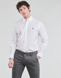 material Men long-sleeved shirts Polo Ralph Lauren CHEMISE AJUSTEE EN POPLINE DE COTON COL BOUTONNE  LOGO PONY PLAY White