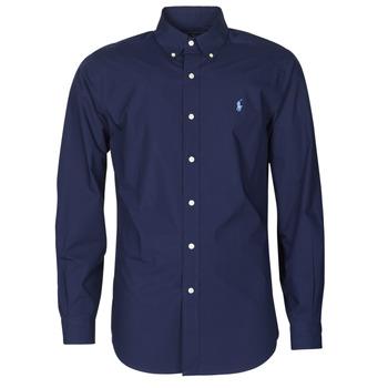 material Men long-sleeved shirts Polo Ralph Lauren CHEMISE AJUSTEE EN POPLINE DE COTON COL BOUTONNE  LOGO PONY PLAY Marine