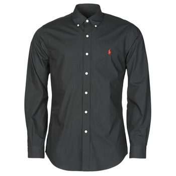 material Men long-sleeved shirts Polo Ralph Lauren CHEMISE AJUSTEE EN POPLINE DE COTON COL BOUTONNE  LOGO PONY PLAY Black