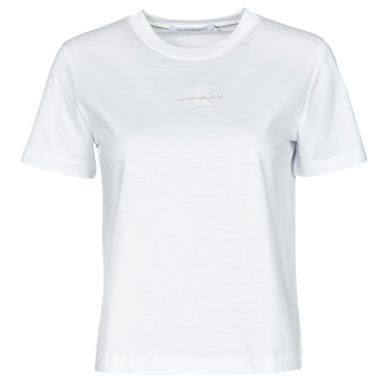 material Women short-sleeved t-shirts Calvin Klein Jeans MONOGRAM LOGO TEE White