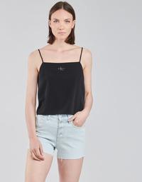 material Women Blouses Calvin Klein Jeans MONOGRAM CAMI TOP Black