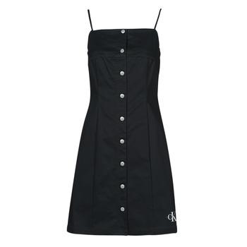 material Women Short Dresses Calvin Klein Jeans COTTON TWILL BUTTON DRESS Black