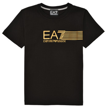 material Boy short-sleeved t-shirts Emporio Armani EA7 3KBT54-BJ02Z-1200 Black / Gold