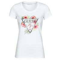 material Women short-sleeved t-shirts Guess SS CN REBECCA TEE White / Multicolour