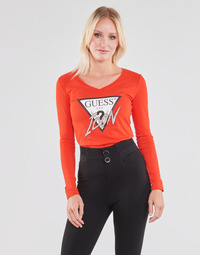 material Women Long sleeved shirts Guess LS VN ICON TEE Red
