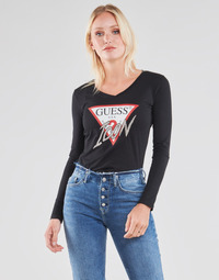 material Women Long sleeved shirts Guess LS VN ICON TEE Black