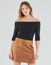 material Women Long sleeved shirts Guess DAYNA OFF SHOULDER SWTR Black