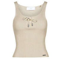 material Women Tops / Sleeveless T-shirts Guess ANNIS TIE TOP Beige