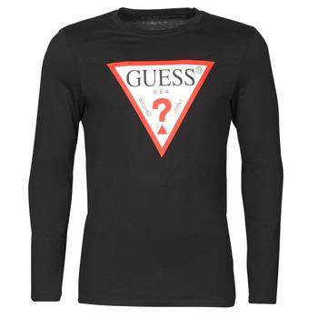 material Men Long sleeved shirts Guess CN LS ORIGINAL LOGO TEE Black