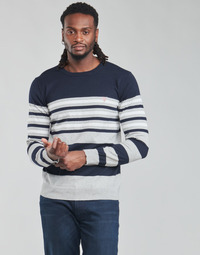material Men jumpers Guess JUSTYN LS CN STRIPED 12 GG Grey / White / Blue