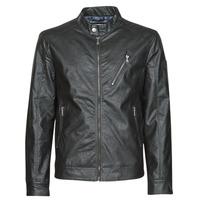 material Men Leather jackets / Imitation le Guess ECO LEATER VINTAGE BIKER Black