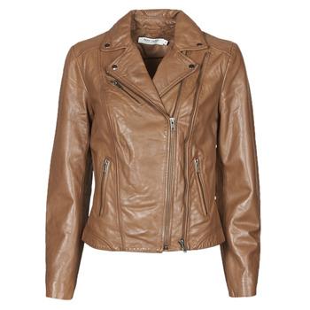 material Women Leather jackets / Imitation le Naf Naf CAMILLA Cognac