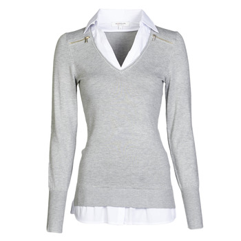 material Women jumpers Morgan MYLORD Grey / Mottled / White