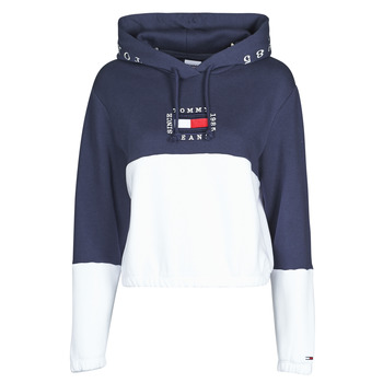 material Women sweaters Tommy Jeans COLOR BLOCK HOODIE Marine / White