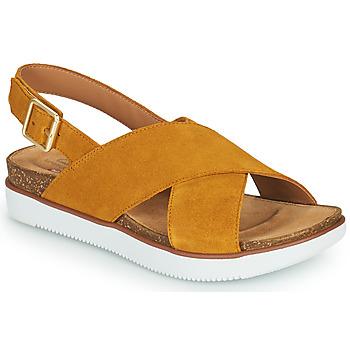 Shoes Women Sandals Clarks ELAYNE CROSS Mustard
