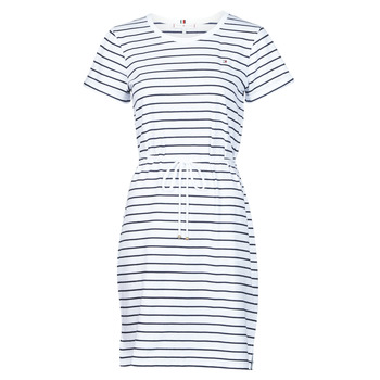 material Women Short Dresses Tommy Hilfiger TH COOL STP SHIFT SHORT DRESS SS White / Marine