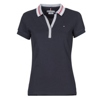 material Women short-sleeved polo shirts Tommy Hilfiger SLIM TIPPING POLO SS Marine