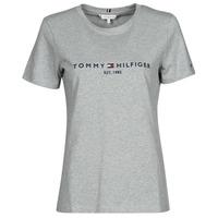 material Women short-sleeved t-shirts Tommy Hilfiger TH ESS HILFIGER C-NK REG TEE SS Grey