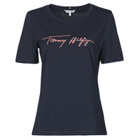 material Women short-sleeved t-shirts Tommy Hilfiger REGULAR SCRIPT OPEN-NK TEE SS Marine