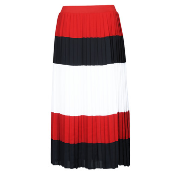 material Women Skirts Tommy Hilfiger CREPE PLEATED MIDI SKIRT Marine / White / Red