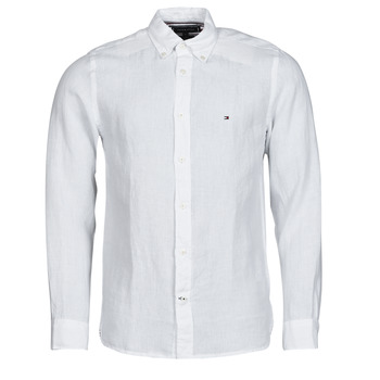 material Men long-sleeved shirts Tommy Hilfiger PIGMENT DYED LINEN SHIRT White