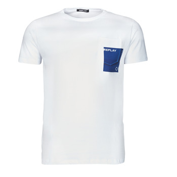material Men short-sleeved t-shirts Replay M3396-2660 White / Blue