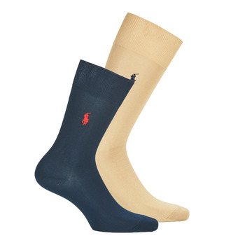 Accessorie Men Socks Polo Ralph Lauren ASX70 X2 COTTON Marine / Beige