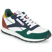 Shoes Children Low top trainers Reebok Classic CL LTHR White / Green / Blue