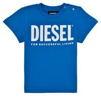 material Boy short-sleeved t-shirts Diesel TJUSTLOGOB Blue
