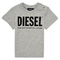 material Children short-sleeved t-shirts Diesel TJUSTLOGOB Grey